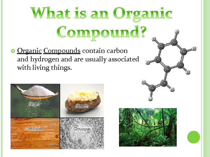 Organic Compounds contain carbon and hydrogen and are usually associated with living things.