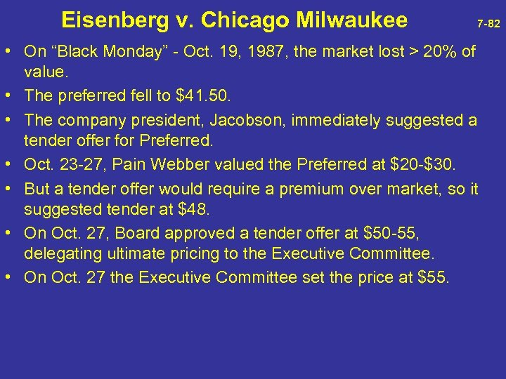 "Eisenberg v. Chicago Milwaukee 7 -82 • On ""Black Monday"" - Oct. 19,"