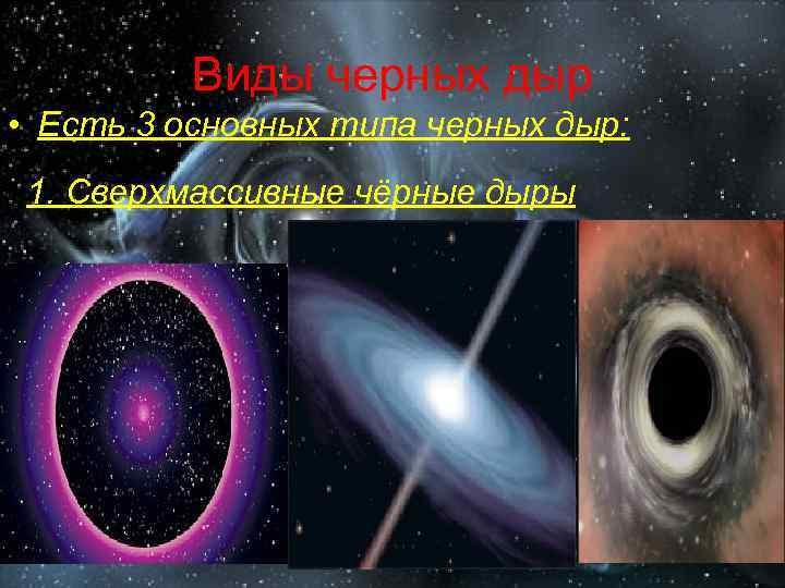 Виды черных дыр • Есть 3 основных типа черных дыр: 1. Сверхмассивные чёрные дыры