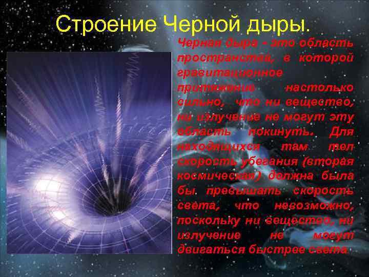 Строение Черной дыры. Черная дыра - это область пространства, в которой гравитационное притяжение настолько