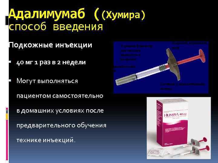 Адалимумаб ((Хумира) способ введения Подкожные инъекции 40 мг 1 раз в 2 недели Могут