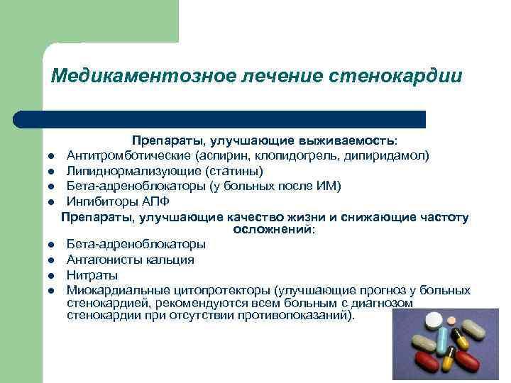 Медикаментозное лечение стенокардии l l l l Препараты, улучшающие выживаемость: Антитромботические (аспирин, клопидогрель, дипиридамол)