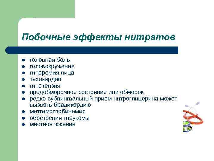 Побочные эффекты нитратов l l l l l головная боль головокружение гиперемия лица тахикардия