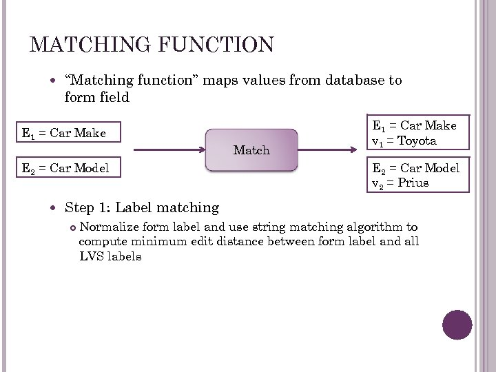 """MATCHING FUNCTION """"Matching function"""" maps values from database to form field E 1 ="""