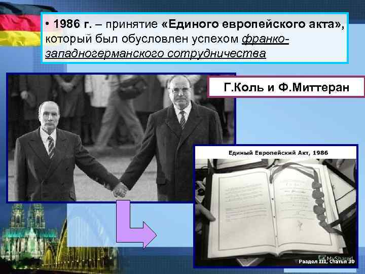 • 1986 г. – принятие «Единого европейского акта» , который был обусловлен успехом