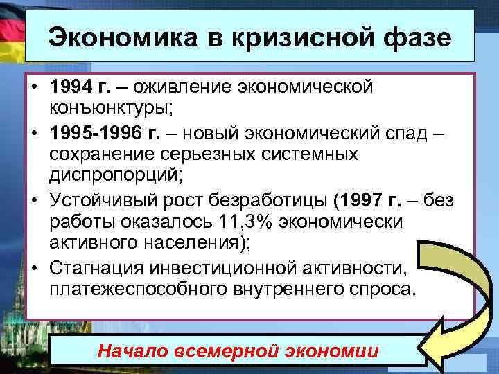Экономика в кризисной фазе • 1994 г. – оживление экономической конъюнктуры; • 1995 -1996