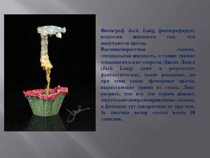 Фотограф Jack Long фотографирует всплески жидкости так, что получаются цветы. Высокоскоростная съемка, специальная жидкость,