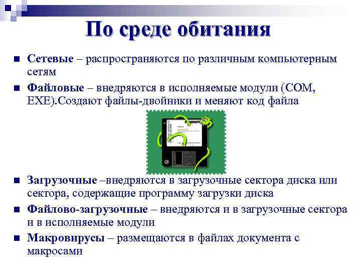 По среде обитания n n n Сетевые – распространяются по различным компьютерным сетям Файловые