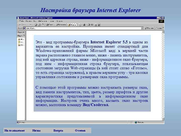 Настройка браузера Internet Explorer Это - вид программы-браузера Internet Explorer 5. 5 в одном