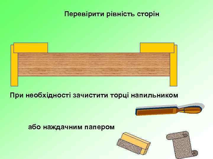 Перевірити рівність сторін При необхідності зачистити торці напильником або наждачним папером