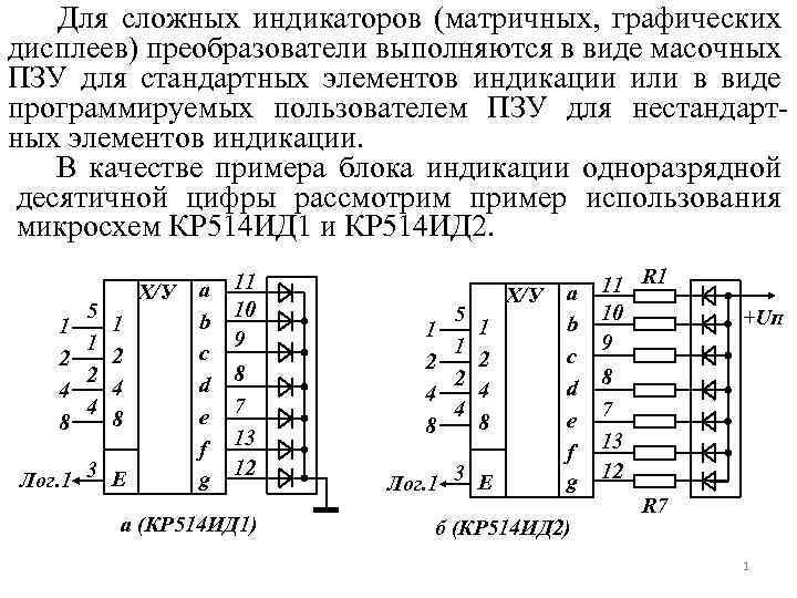 Для сложных индикаторов (матричных, графических дисплеев) преобразователи выполняются в виде масочных ПЗУ для стандартных
