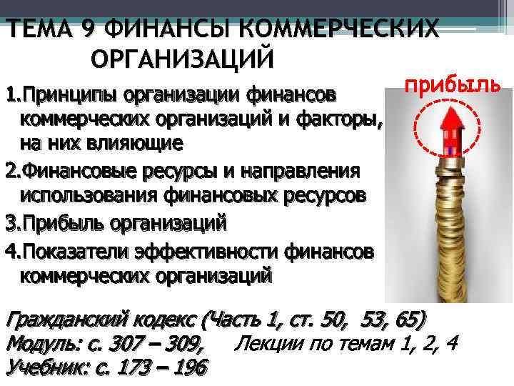 ТЕМА 9 ФИНАНСЫ КОММЕРЧЕСКИХ ОРГАНИЗАЦИЙ прибыль 1. Принципы организации финансов коммерческих организаций и факторы,