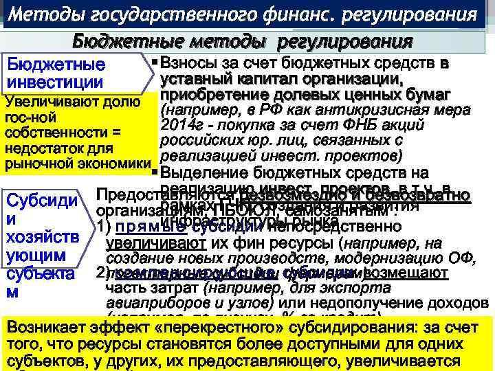 Методы государственного финанс. регулирования Бюджетные методы регулирования § Взносы за счет бюджетных средств в