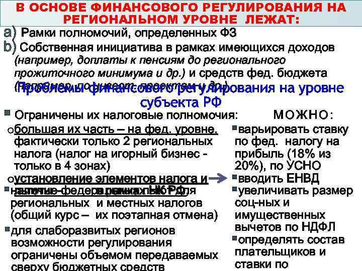 В ОСНОВЕ ФИНАНСОВОГО РЕГУЛИРОВАНИЯ НА РЕГИОНАЛЬНОМ УРОВНЕ ЛЕЖАТ: a) Рамки полномочий, определенных ФЗ b)