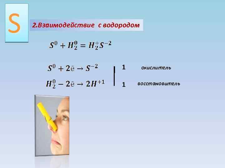 S 2. Взаимодействие с водородом 1 1 окислитель восстановитель
