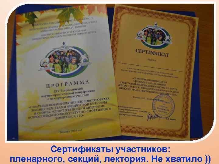 Сертификаты участников: пленарного, секций, лектория. Не хватило ))