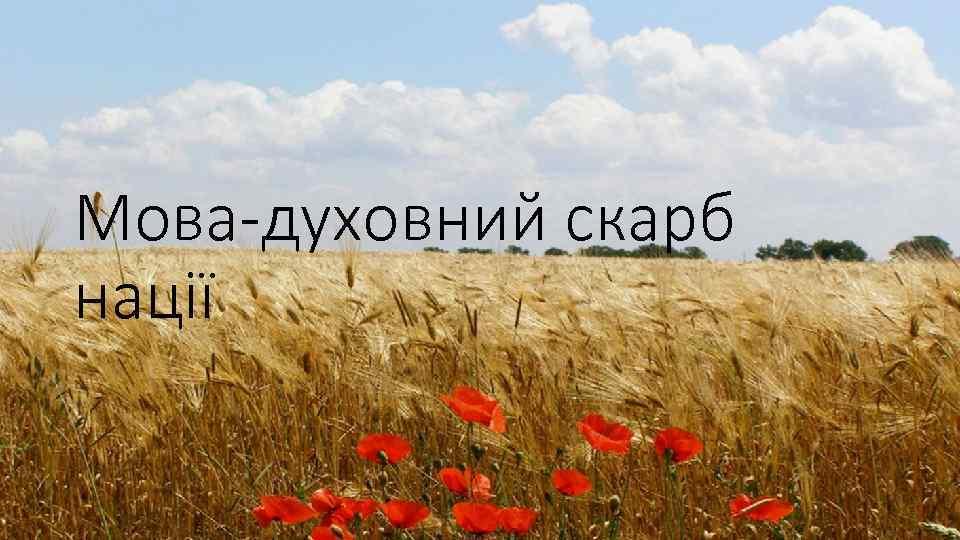 Мова-духовний скарб нації