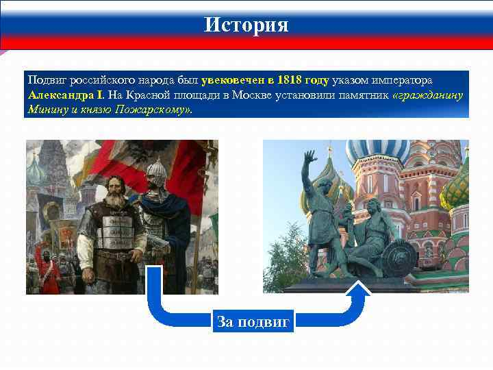 История Подвиг российского народа был увековечен в 1818 году указом императора Александра I. На