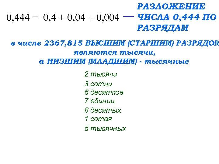 0, 444 = 0, 4 + 0, 004 РАЗЛОЖЕНИЕ ЧИСЛА 0, 444 ПО РАЗРЯДАМ
