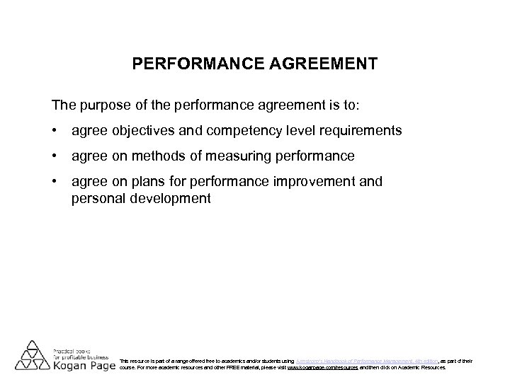 PERFORMANCE AGREEMENT The purpose of the performance agreement is to: • agree objectives and