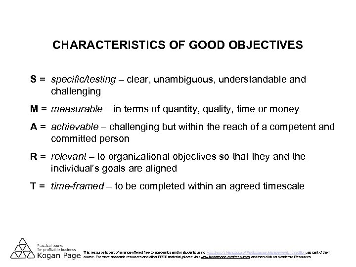 CHARACTERISTICS OF GOOD OBJECTIVES S = specific/testing – clear, unambiguous, understandable and challenging M
