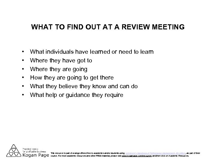 WHAT TO FIND OUT AT A REVIEW MEETING • • • What individuals have