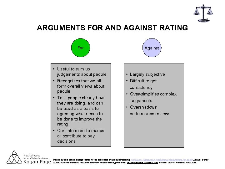 ARGUMENTS FOR AND AGAINST RATING For • Useful to sum up judgements about people