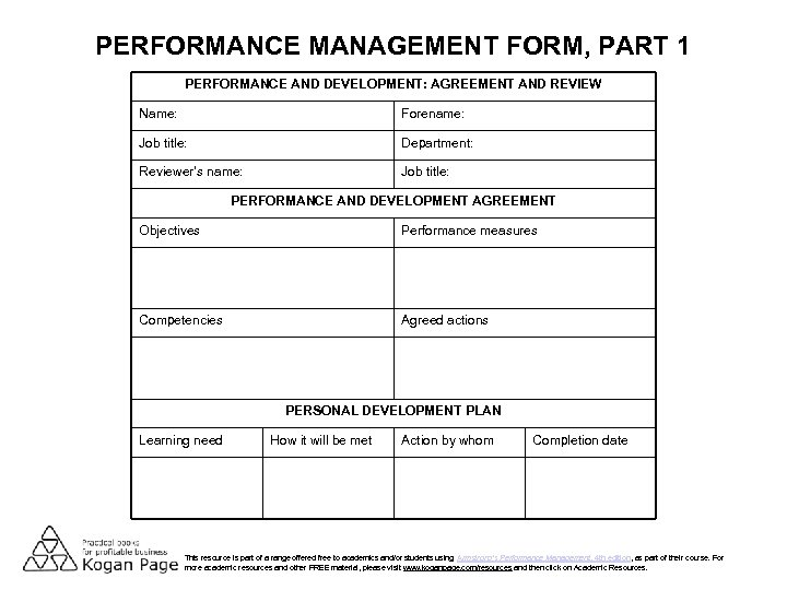 PERFORMANCE MANAGEMENT FORM, PART 1 PERFORMANCE AND DEVELOPMENT: AGREEMENT AND REVIEW Name: Forename: Job