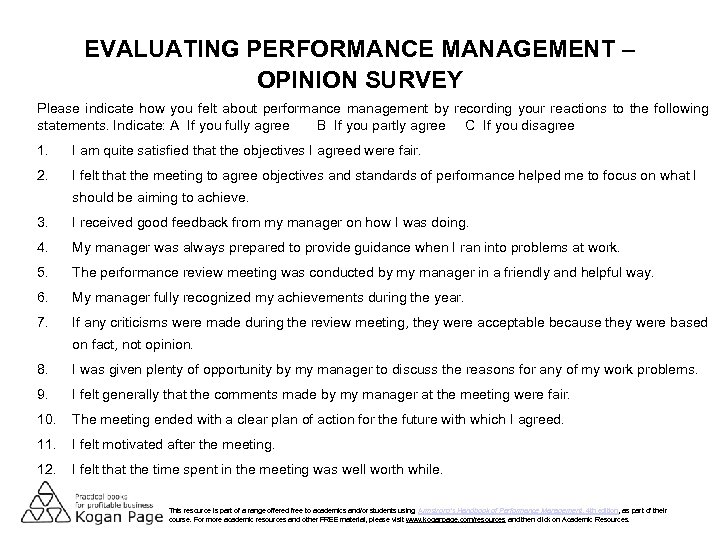 EVALUATING PERFORMANCE MANAGEMENT – OPINION SURVEY Please indicate how you felt about performance management