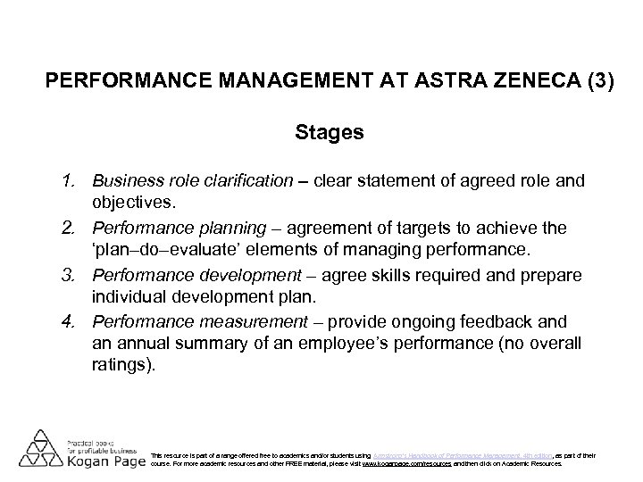 PERFORMANCE MANAGEMENT AT ASTRA ZENECA (3) Stages 1. Business role clarification – clear statement