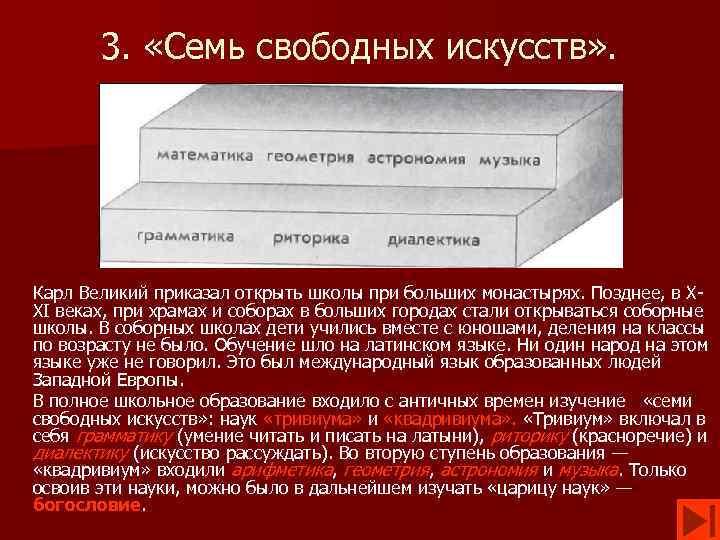 3. «Семь свободных искусств» . Карл Великий приказал открыть школы при больших монастырях. Позднее,