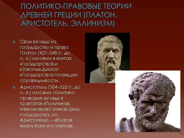 ПОЛИТИКО-ПРАВОВЫЕ ТЕОРИИ ДРЕВНЕЙ ГРЕЦИИ (ПЛАТОН, АРИСТОТЕЛЬ, ЭЛЛИНИЗМ) Свои взгляды на государство и право Платон