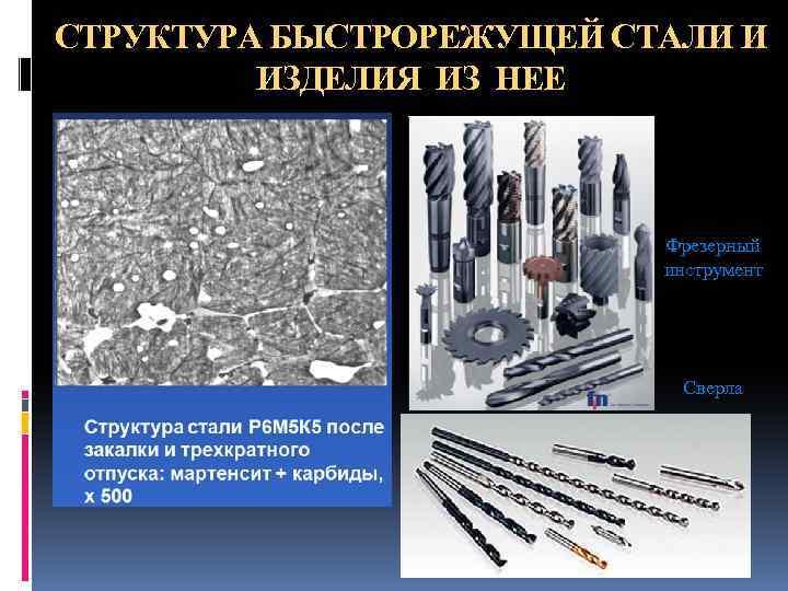СТРУКТУРА БЫСТРОРЕЖУЩЕЙ СТАЛИ И ИЗДЕЛИЯ ИЗ НЕЕ Фрезерный инструмент Сверла