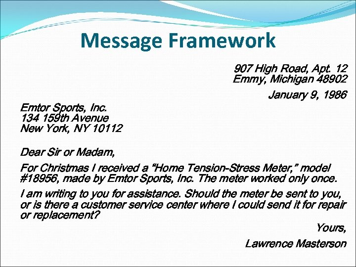 Message Framework Emtor Sports, Inc. 134 159 th Avenue New York, NY 10112 907