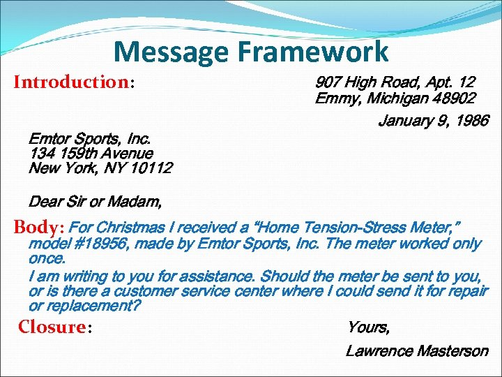 Message Framework Introduction: Emtor Sports, Inc. 134 159 th Avenue New York, NY 10112