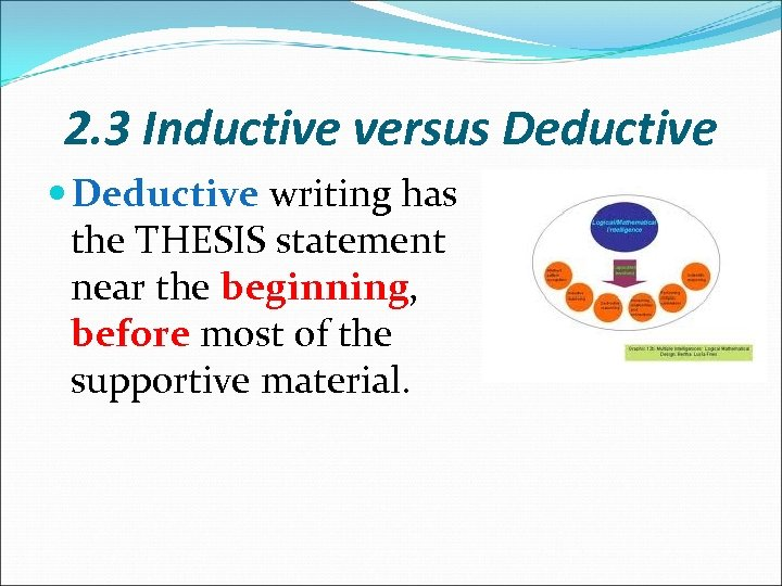 2. 3 Inductive versus Deductive writing has the THESIS statement near the beginning, before