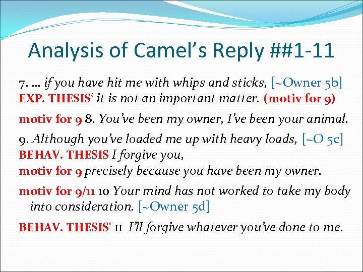 Analysis of Camel's Reply ##1 -11 7. … if you have hit me with