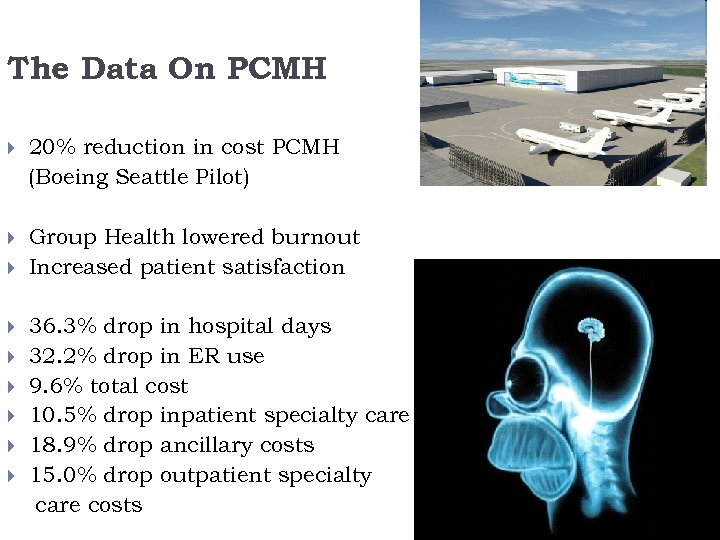 The Data On PCMH 20% reduction in cost PCMH (Boeing Seattle Pilot) Group Health