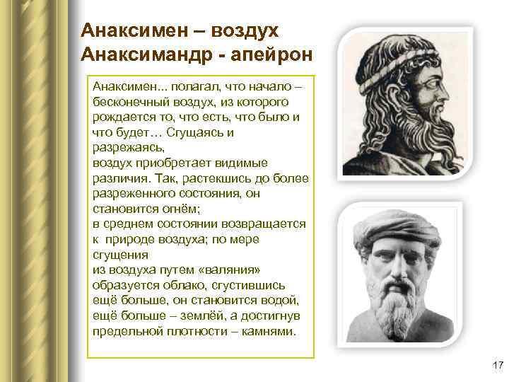 Анаксимен – воздух Анаксимандр - апейрон Анаксимен. . . полагал, что начало – бесконечный
