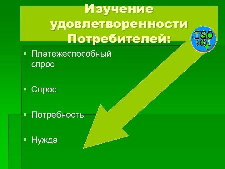 Изучение удовлетворенности Потребителей: § Платежеспособный спрос § Спрос § Потребность § Нужда