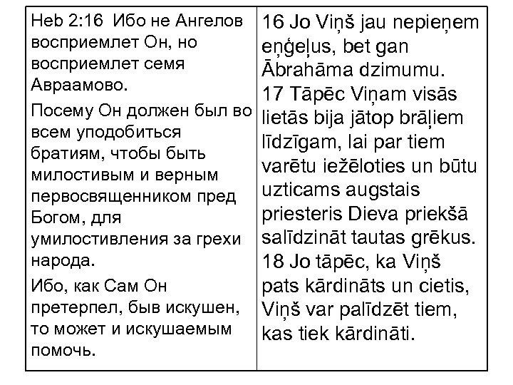 Heb 2: 16 Ибо не Ангелов восприемлет Он, но восприемлет семя Авраамово. Посему Он