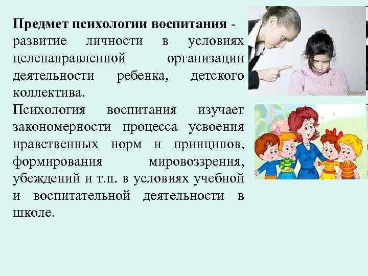 Предмет психологии воспитания развитие личности в условиях целенаправленной организации деятельности ребенка, детского коллектива. Психология