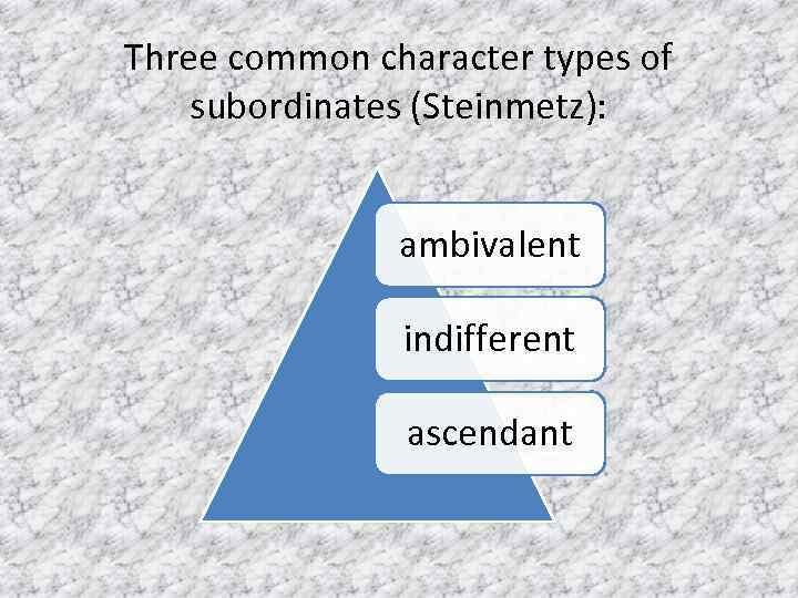 Three common character types of subordinates (Steinmetz): ambivalent indifferent ascendant