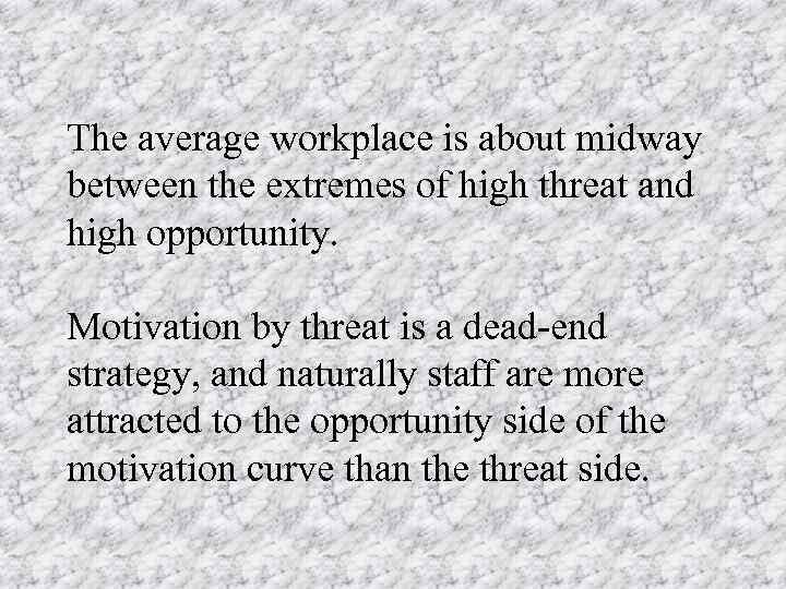 The average workplace is about midway between the extremes of high threat and high