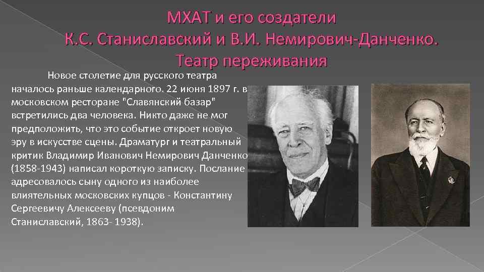 МХАТ и его создатели К. С. Станиславский и В. И. Немирович-Данченко. Театр переживания Новое