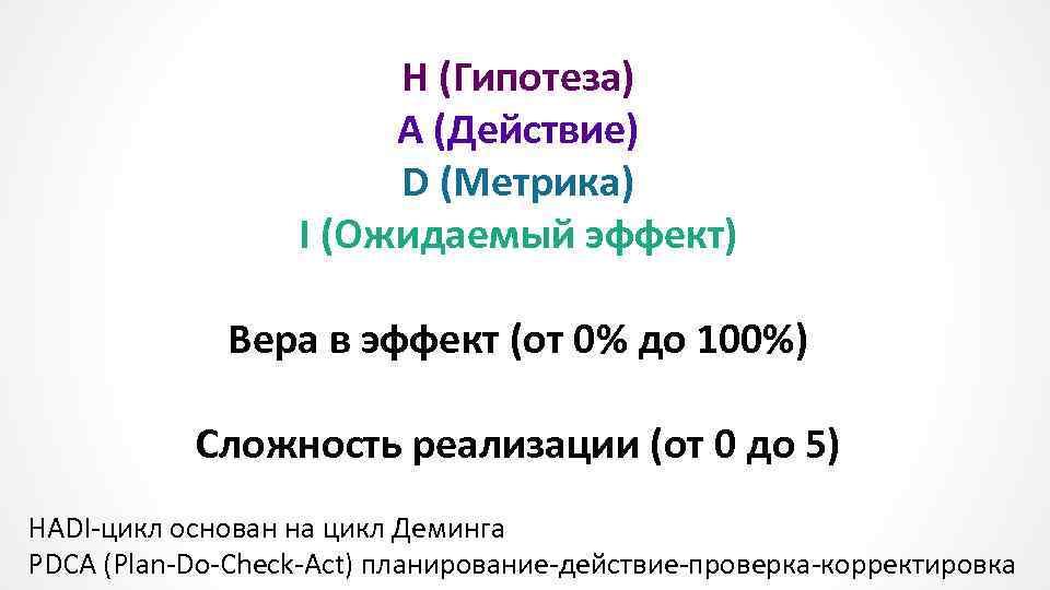 H (Гипотеза) A (Действие) D (Метрика) I (Ожидаемый эффект) Вера в эффект (от 0%