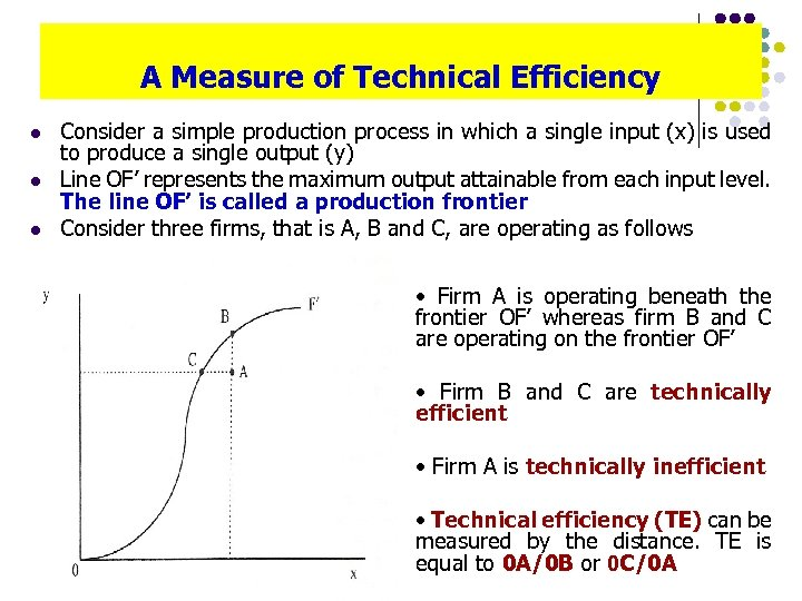 A Measure of Technical Efficiency l l l Consider a simple production process in