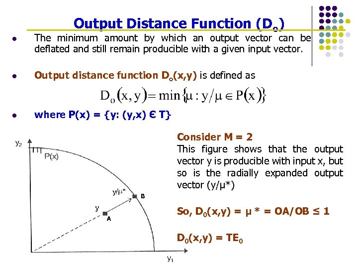 Output Distance Function (Do) l The minimum amount by which an output vector can