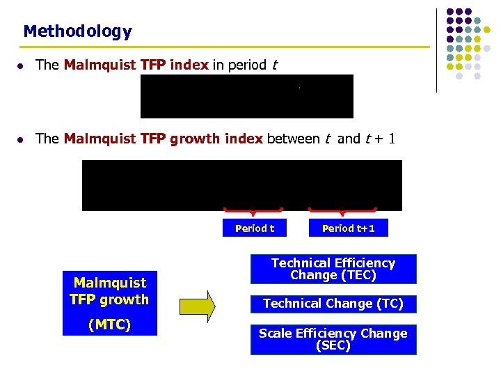 Methodology l The Malmquist TFP index in period t l The Malmquist TFP growth