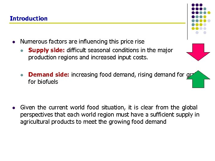 Introduction l Numerous factors are influencing this price rise l Supply side: difficult seasonal